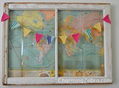 Vintage Map Window - I attached an old map from the 1960's to the back of a vintage window. I then added a simple recycled fabric pennant garland across t…