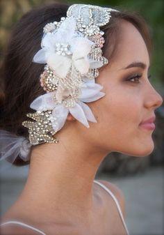 One of a kind Crystal and Petal Head Dress  by DolorisPetunia, $600.00