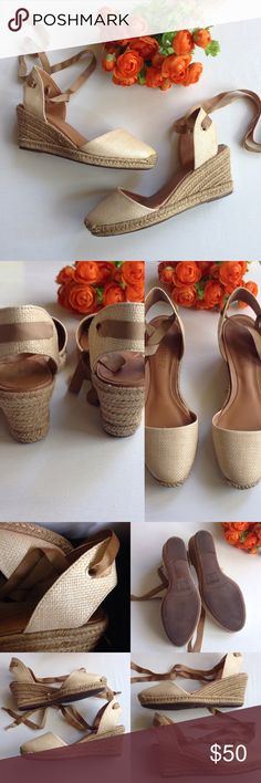 """SCHUTZ Athena Lace-Jute Almond Espadrille Wedge Schutz wedge in Athena style with lace vamp. Approx. 3"""" espadrille wedge; 3/4"""" pump. Almond toe. Jute toe & backstay with grosgrain tie. Padded footbed. Manmade sole. Made in Brazil. EUC worn only a handful of times, but has light wear and ribbon is slightly shredded where it treads through the back (see pic) length approx 8.5"""", widest 3"""" **last pic is not of actual shoe - just for show!  No box SCHUTZ Shoes Espadrilles"""