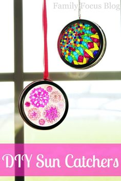 Easy DIY Sun Catchers Tutorial - How to Make DIY Sun Catchers with Mason Jar Lids - Family Focus Blog Sun Catchers Tutorial