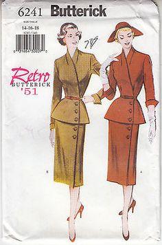 Retro 51 Top Skirt Belt Semi Fit Butterick Sewing Pattern 6241 Uncut 14-16-18