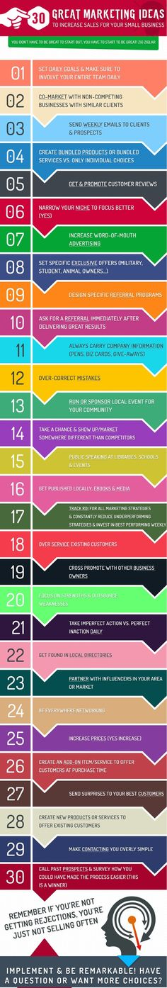 Great Marketing Ideas for Small Business Owners looking to increase sales. These are 30 unique marketing strategies that are easy for any small business.