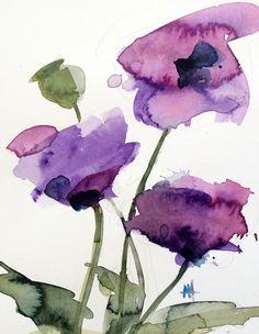Paarse Poppies no. 4 originele aquarel bloemen schilderij door Angela Moulton 8 x 10 inch met 11 x 14 inch wit Mat