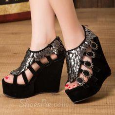 hotness and more Hollow Sequin Platform Upper Wedge Heel Women's Sandals