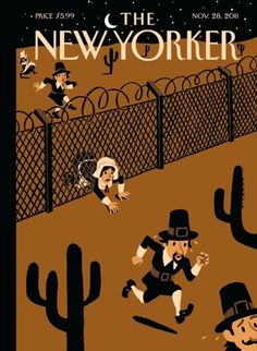 "New Yorker ""Promised Land"" Thanksgiving Cover by Christoph Niemann"