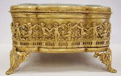 . Antique Dancing Cherubs Gilt Jewellery Box