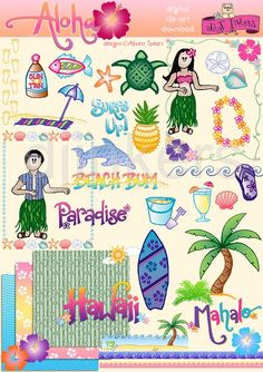 Cute Hawaiian clip art by Alixess Spears