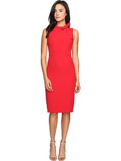Maggy London Crepe Sheath Dress w/ Neck Tie