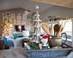My Merry and Bright Christmas Home Tour 2015.  An idea for my kitchen Christmas vignette.