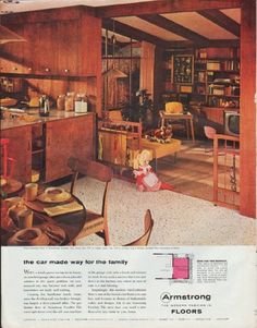 """Description: 1957 ARMSTRONG FLOORS vintage print advertisement """"the car made way for the family""""-- Vinyl-asbestos floor is Armstrong Exelon Tile ... Armstrong ... The Modern Fashion in Floors -- Size: The dimensions of the full-page advertisement are approximately 10.5 inches x 13.25 inches (27cm x 34cm). Condition: This original vintage full-page advertisement is in Very Good Condition unless otherwise noted (right-edge roughness can be covered or cut off)."""
