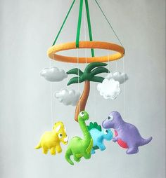 Dinosaur baby crib mobile Nursery decor Felt mobile Hanging