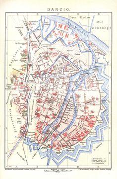 Mapy i plany, Gdańsk - 1898 rok, stare zdjęcia