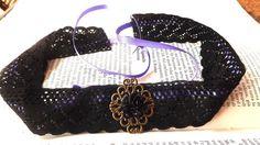 collarino gotico con merletto nero e nastro viola di arbol de la vida su DaWanda.com