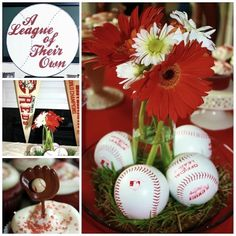 baseball centerpieces | As centerpieces throughout the shower we took real grass and placed it ...