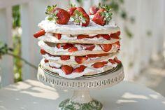 Strawberry Meringue Layer Cake by Savour Fare
