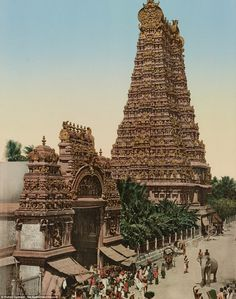 "hinducosmos: ""Great Gopuram & entrance to Temple, Madura Photograph of a gopuram (tower) and entrance of the Minakshi Sundareshvara temple in Madurai Views of India: Set of 11 photochromes (via StoryLTD) "" Indian Temple Architecture, India Architecture, Ancient Architecture, Beautiful Architecture, Temple India, Hindu Temple, Pictorial Maps, Amazing India, Visit India"