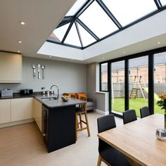 A Guide To An Architects Dream Kitchen 00007 - eclarehome Small Open Plan Kitchens, Open Plan Kitchen Dining Living, Open Plan Kitchen Diner, Living Room Kitchen, New Kitchen, Kitchen Ideas, Glass Kitchen, Kitchen Extension Ideas Ireland, Kitchen Extension With Bifold Doors