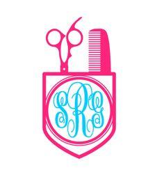 Scissor Pocket Monogram Vinyl Decal, Custom Hair Stylist, Hair Dresser Car Decal, Personalized 3 letter monogram decal by SouthernMissVinyl on Etsy