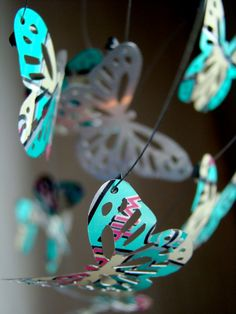Mobile WindChime Hanging Butterflies Recycled