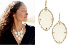 From Stella & Dot's Spring 2013 Collection! Fashion forecasters are deeming a white earring the must-have of the season. The Fiona Earrings ($42) are featherweight and feature ivory epoxy stones with a handset bezel and pave detailing for a fresh modern look.  Necklace $128   http://shop.stelladot.com/style/b2c_en_ca/fiona-earrings.html?s=sabrinaharris