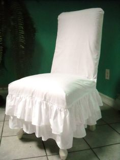 White Ruffled Chair Slipcover by PaulaAndErika on Etsy, $90.00
