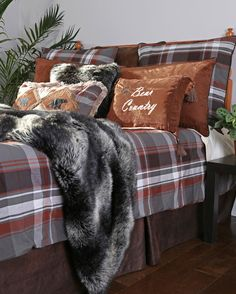 The Grand Teton Plaid Bedding Set will add a rugged flair to your rustic lodge, or western ranch home. Visit us online or call for more rustic decor. Plaid Comforter, Rustic Comforter, Plaid Bedding, Comforter Sets, King Comforter, Thing 1, Just Dream, Dream Life, Lodge Style