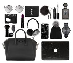 """What's in my bag: minimalist&monochrome version"" by marbiotic ❤ liked on Polyvore featuring Frends, Givenchy, Casetify, Harrods, Nixon, Tom Ford, Bobbi Brown Cosmetics, Yves Saint Laurent, Christian Dior and Edward Bess"