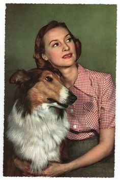 Vintage postcard ~ woman with Collie ~