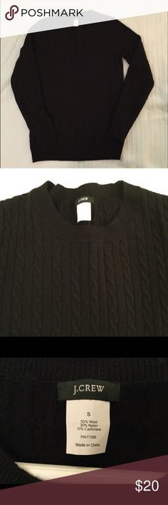 J Crew Cable sweater J Crew Black Cable Sweater, Size S, fabric content listed in pic 4,  slight pilling, good condition J. Crew Sweaters Crew & Scoop Necks