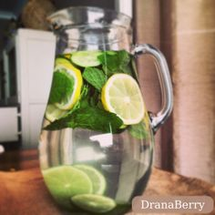 detox water: infused with lemon, lime, mint + cucumber