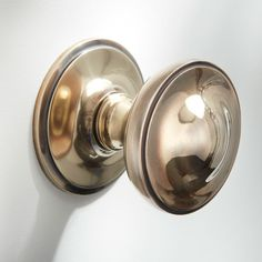 Centre Door Knob Renovated Brass: A classic solid brass dome-type Centre Knob, finished in Unlacquered Renovated Brass. 1930s Doors, Curtain Poles, Door Furniture, Door Knobs, Polished Chrome, Solid Brass, Centre, Antiques, 1930s House