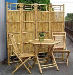 Bamboo is known to be one of the strongest, flexible and highly durable natural materials and most importantly inexpensive. Another great quality of bamboo is that it keeps a very distinct temperature which is best for places that are warm Bamboo Furniture, Home Decor Furniture, Cheap Furniture, Pallet Furniture, Luxury Furniture, Outdoor Furniture Sets, Outdoor Decor, Furniture Stores, Inexpensive Furniture