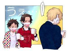 Эйс, Луффи, Сабо. кофе