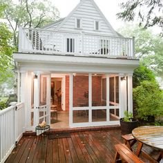 After getting eaten alive by mosquitoes love the idea of a screened in porch more.. with a deck on top. Best of both worlds