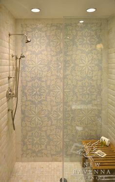 Arabella Stone Mosaic shower by Sara Baldwin