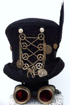 Black Steampunk top hat Mr Brass Ratchet Raven