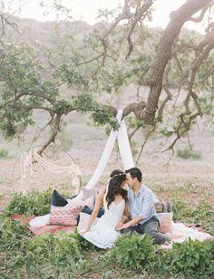 whimsical romantic engagement session shot by Caroline Tran
