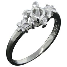 Double Plumeria and Honu Turtle Ring - La Islenita Jewelry