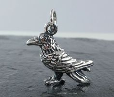Raven  or Crow Charm, made from Sterling Silver - you can also add a Necklace to this Charm.