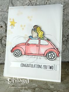 Beautiful Ride, TGIF Challenge, Stampin' Up! Watercolor Paper and Basic Black Archival Ink. Wedding Shower Cards, Wedding Cards, Happy Birthday Funny, Funny Happy, Wedding Anniversary Cards, Happy Anniversary, Engagement Cards, Card Sketches, Card Tags