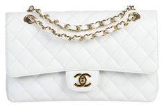Chanel Caviar Classic 2.55 Medium Flap Handbag Ghw White Satchel.