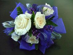prom corsages for 2014 | purple and silver accents royal blue accents