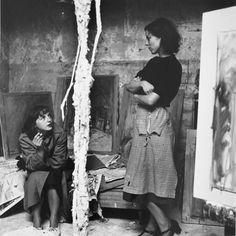 Ernst Scheidegger,  Annette Giacometti entertaining a friend in the studio.  1950