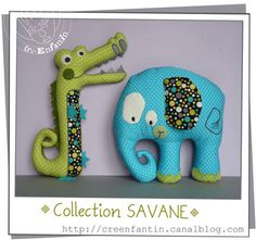 cutest alligator and elephant ever! free pattern French