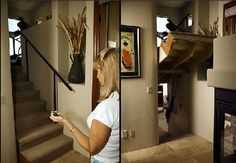 WHAT?? The door to an underground storm shelter/panic room/secret hid out in the kitchen island! Best secret passage ever!! Definitely a dream home feature!