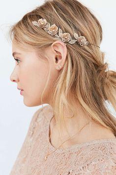 Bandeau auréole à fleurs dorées