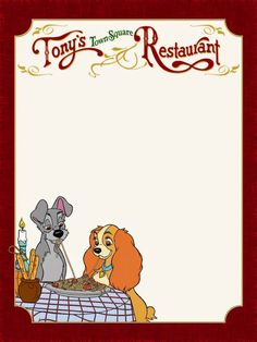 Journal Card - MK - Tony's Town Square Restaurant - Lady and the Tramp - Photo: A little journal card to brighten up your holiday scrapbook! Disney Love, Disney Magic, Walt Disney, Disney Diy, Disney Cruise, Tonys Town Square Restaurant, Poster Disney, Disney Dinner, Disney Frames