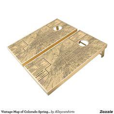 Vintage Map of Colorado Springs CO (1909) Cornhole Set