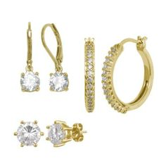18k Yellow Gold Plated Sterling Silver Simulated Diamond Set of Three Lever Back, Hoop and Studs Amazon Curated Collection. $59.00. Hoop (hidden-snap-posts) Earrings: length 0.81in, width 2.5mm and diameter 0.83in. Lever Back Earrings: length 0.87in, width 0.24in. Stud (post-with-friction-back) Earrings: length 0.34in, width 0.3in. Made in China