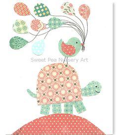 Aqua and Coral Nursery, Turtle Nursery, Girls Room, Balloons, Bird, Aqua Turtle, Coral Turtle, 8 x 10 Print, cute nursery art